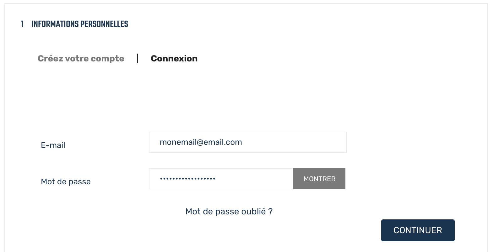 Fenêtre de connexion au compte client MMG-Bateaux