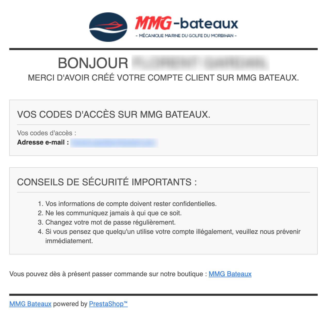 Email de bienvenue après la création d'un compte client MMG-Bateaux