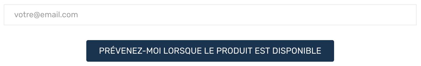 Formulaire permettant d'être prévenu lorsqu'un produit est à nouveau disponible et en stock